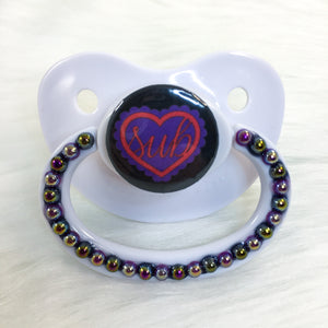 Sub Ruffle Heart Purple/Red PM Paci (Custom Options Blank to Full Deco)
