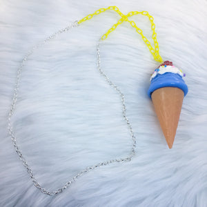 Blue and Yellow Ice Cream Bubble SP Necklace