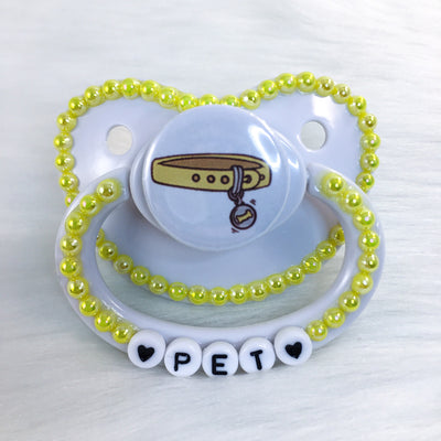 Yellow Pup Pet Collar Premade PM Paci