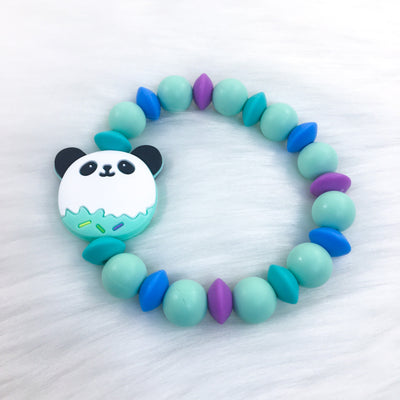 Blue Sweet Panda Teether Bracelet 7.25in