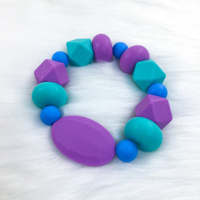 Purple Jewel Tones Chunky Teether Bracelet 7.25in