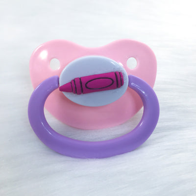 Pink Crayon Simple BE Paci