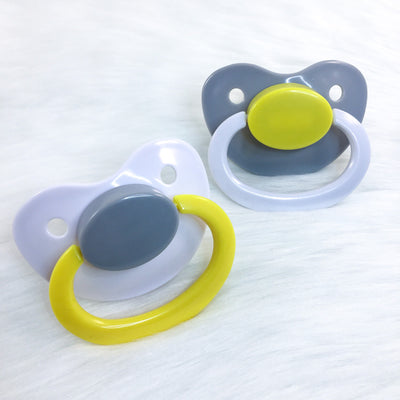 Grey, Yellow, and White Color Mix Plain Adult Paci