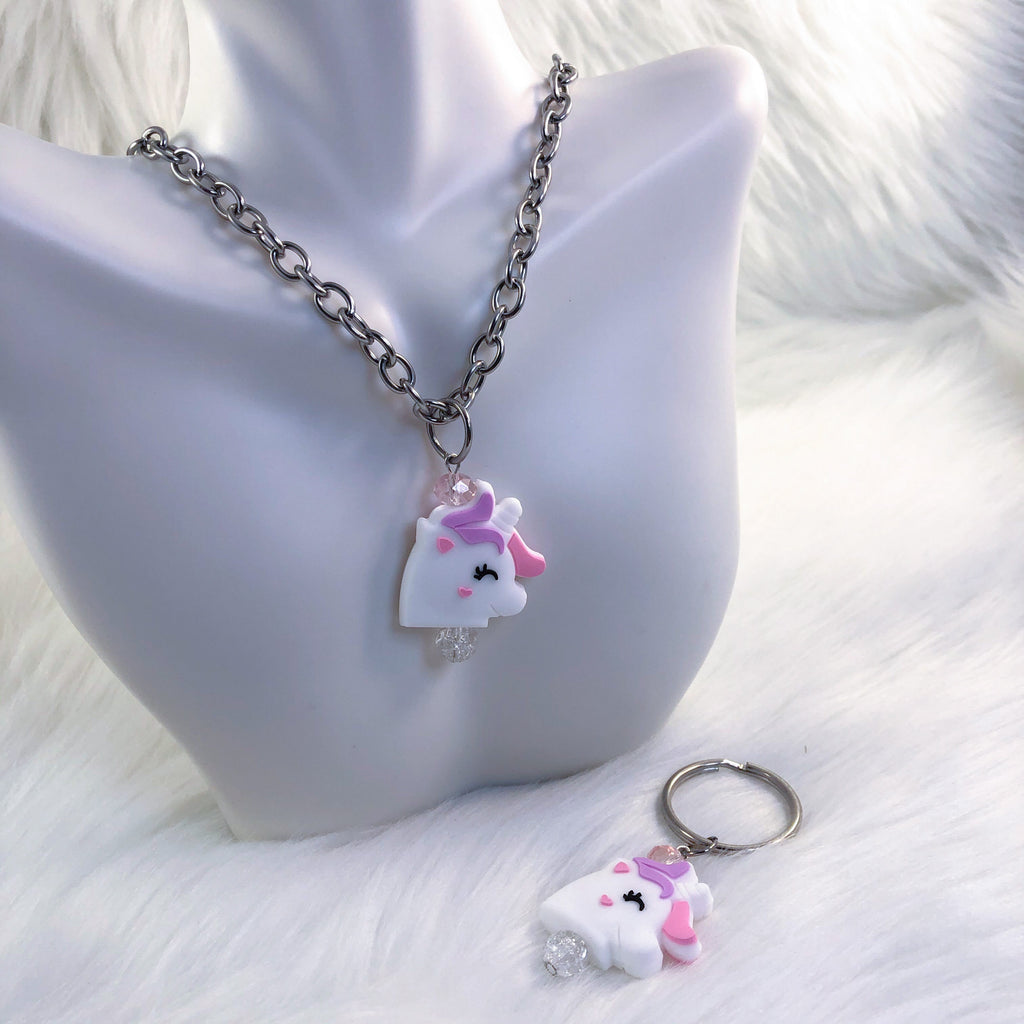 Unicorn Fidget Necklace and Keychain Set