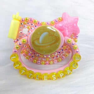 Yellow and Pink Littlespace Premade PM Paci