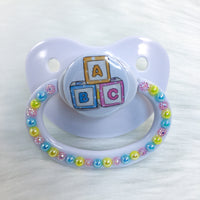 Pastel Alphabet Blocks PM Paci (Custom Options Blank to Full Deco)