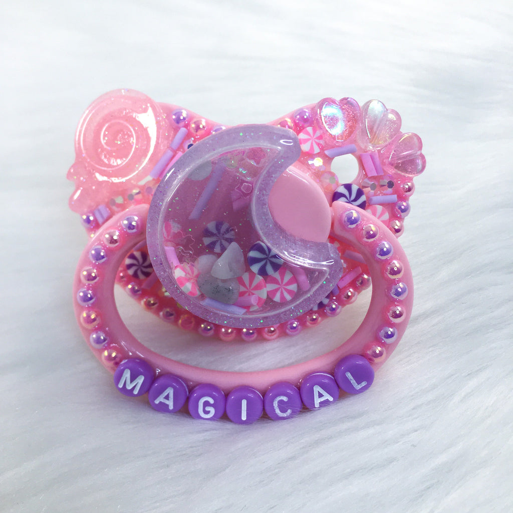 Seconds Sweet and Magical Moon Rose Quartz PM Shaker Paci