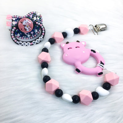 Pink Moo Moo Set (PM Paci and Adult Teether Clip with Teether)