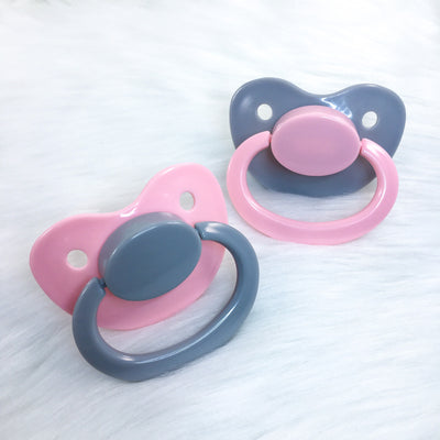 Pink and Grey Color Mix Plain Adult Paci