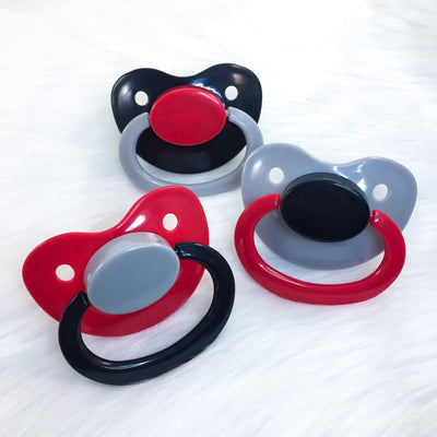 Red, Grey, and Black Color Mix Plain Adult Paci