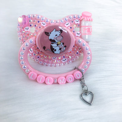 Pink Baby Cow PM Paci (Custom Options Blank to Full Deco)
