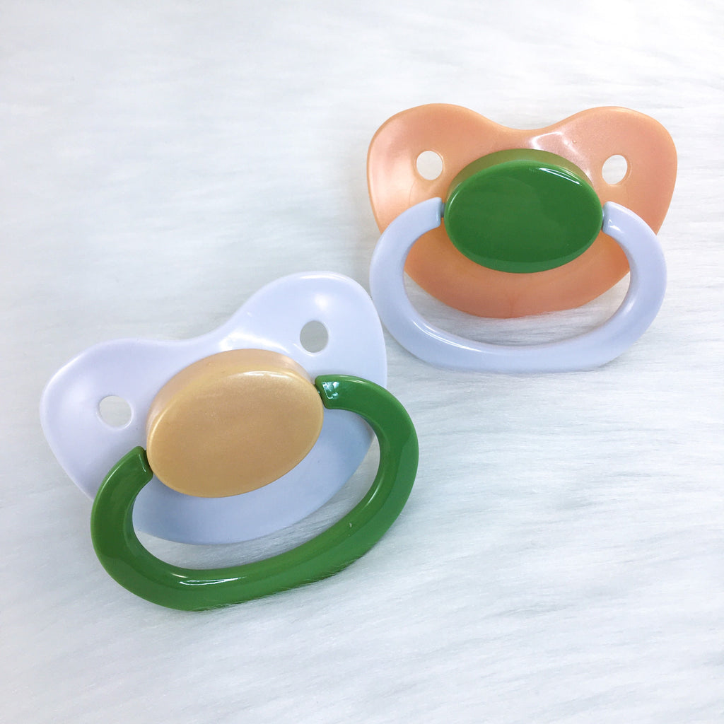 Green and Golden Color Mix Plain Adult Paci