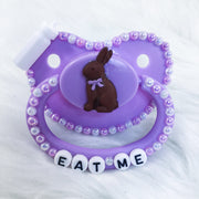 Eat Me Chocolate Bunny BE Border Paci