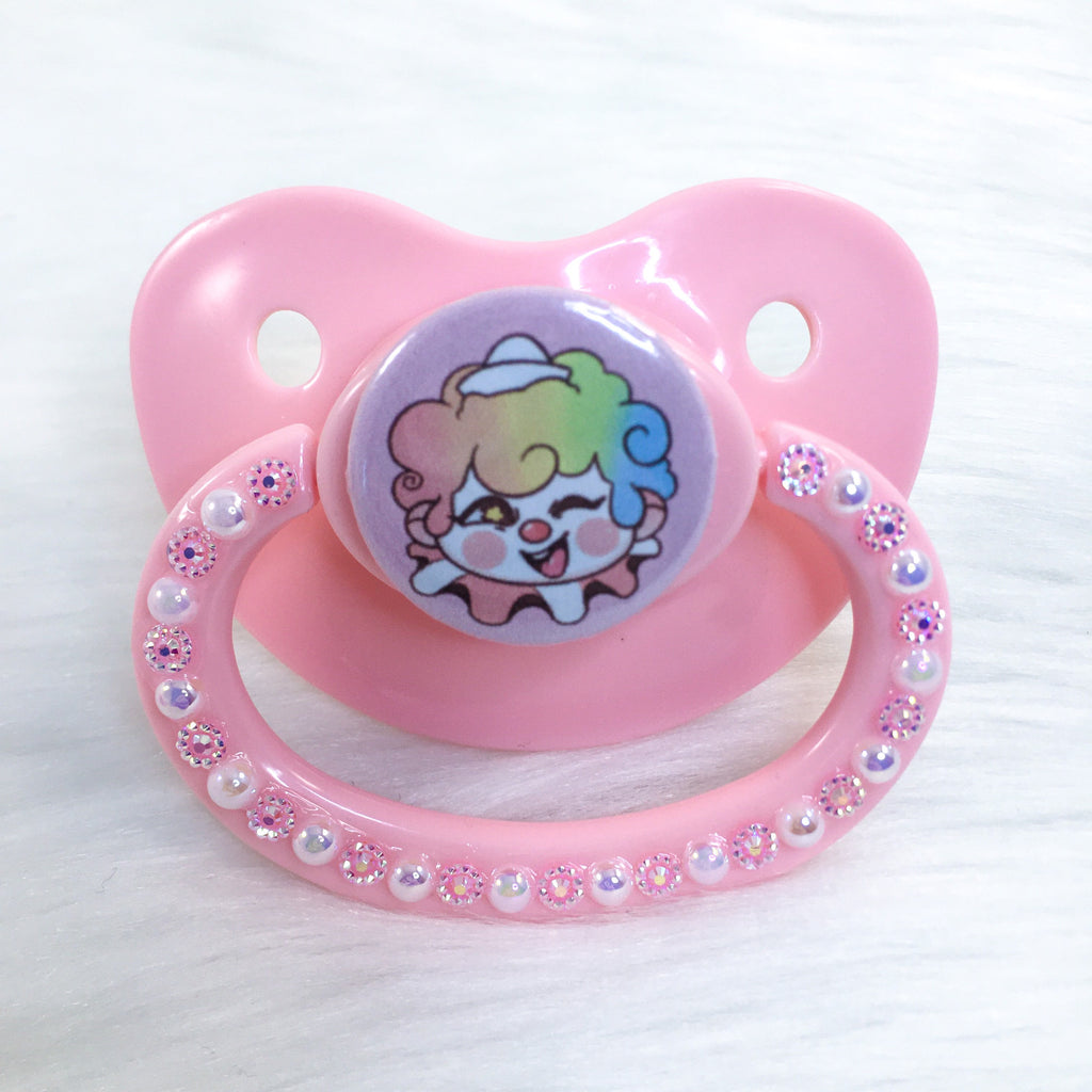 Baby Clown Pink Background PM Paci (Custom Options Blank to Full Deco)
