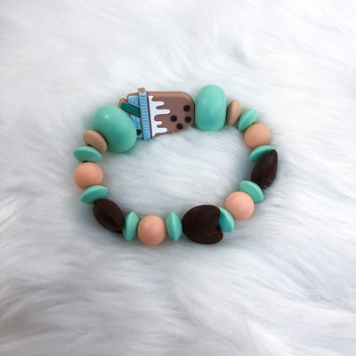 Chocolate Boba Tea Teether Bracelet 6.25in