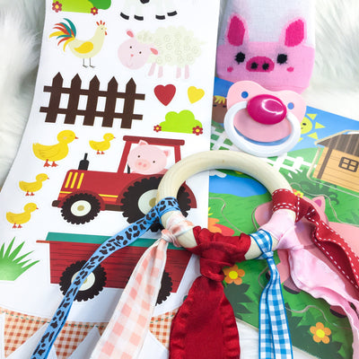 Barnyard Baby Set (Seconds Hand Kite/Wooden Teether, BE Plain Paci, Wall Stickers, Wooden Puzzle, Piggy Socks)