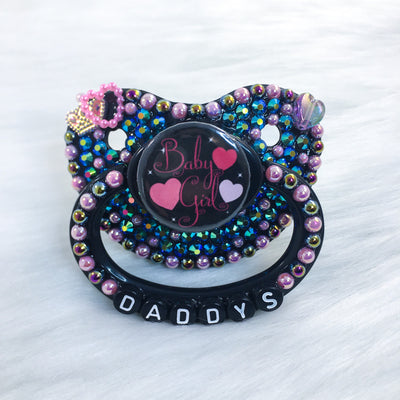 Pink/Black Baby Girl PM Paci (Custom Options Blank to Full Deco)