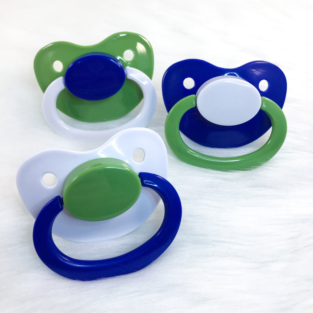 Dino Baby (Green, Blue, White) Color Mix Plain Adult Paci