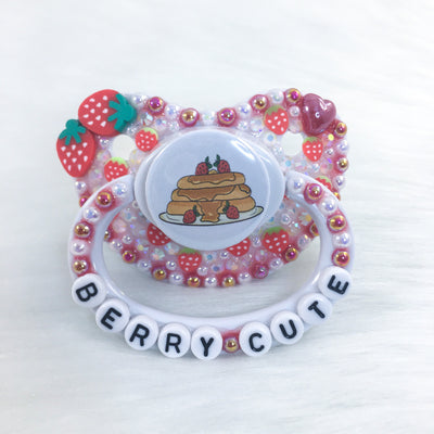 Berry Cute Strawberry Pancakes Premade PM Paci