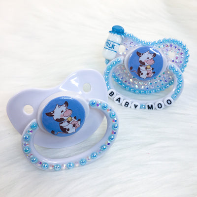 Blue Baby Cow PM Paci (Custom Options Blank to Full Deco)