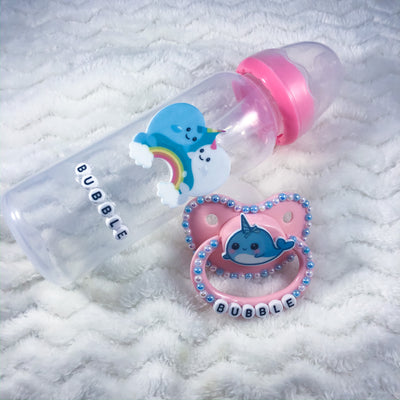 Bubble Narwhal BE Set (Paci, and Bottle)