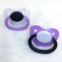 Twilight (Lavender, Black, White) Color Mix Plain Adult Paci