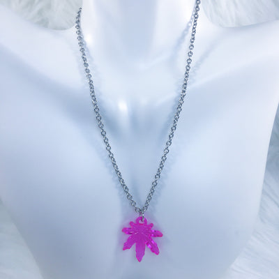 Pink Stonie Leaf Necklace