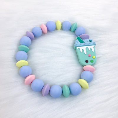 Rainbow Boba Tea Teether Bracelet 7.25in