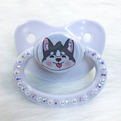 Husky Pup White Background PM Paci (Custom Options Blank to Full Deco)