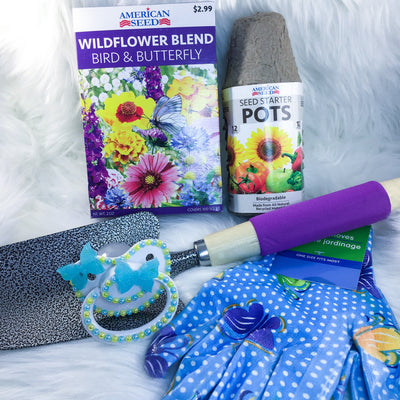 Blue Butterflies Gardening Set (PM Paci, Seeds, Seed Starters, Gloves, Shovel)