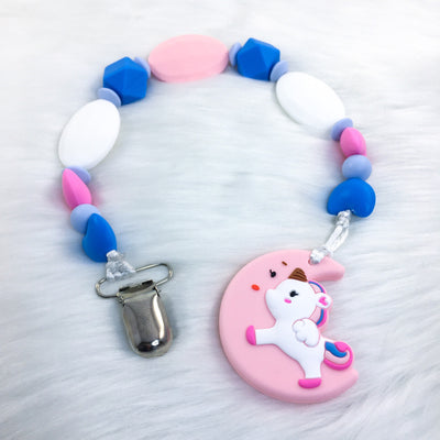 Magical Unicorn (Pink/White/Blue) Adult Teether Clip with Teether