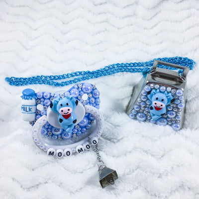 Blue Moo Set (Deco Paci with Removable Charm, Deco Cow Bell Collar)