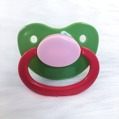 Green/Pink/Red Color Mix Plain Adult Paci