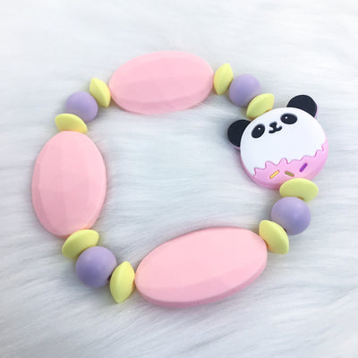 Pink Sweet Panda Chunky Teether Bracelet 7.25in