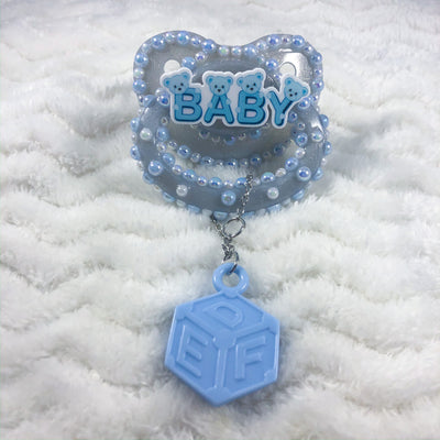 Blue Baby Bear HC Paci with Charm