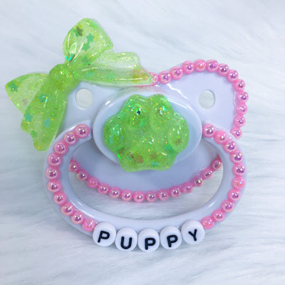Pink and Green Puppy PM Paci