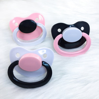 Pink, White, and Black Color Mix Plain Adult Paci