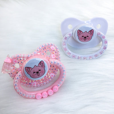 Pink and White Puppy PM Paci (Custom Options Blank to Full Deco)