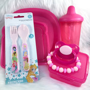 Pink Beginner Little Kit (Plain Paci, Sippy, Teether Bracelet, Plate, Paci Storage, Snack Storage, Baby Silverware)