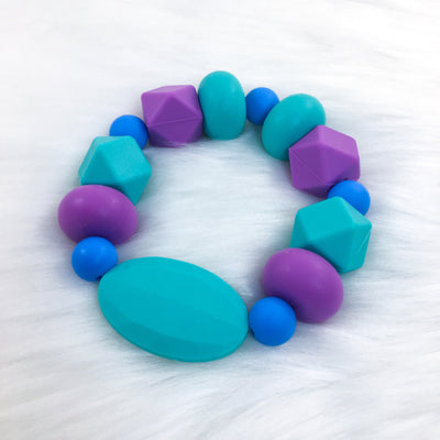 Teal Jewel Tones Chunky Teether Bracelet 7.25in