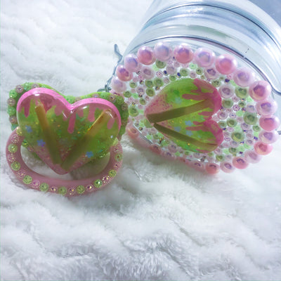 Pink and Green Kawaii Candy Set (Paci and Stash Jar)