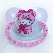 Fluffy Kitty Pink/Red Simple PM Paci