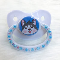 Husky Pup Baby Blue Background PM Paci (Custom Options Blank to Full Deco)