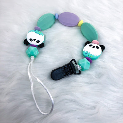 Rainbow Panda 15.5 Inch Teether Clip/Paci Clip
