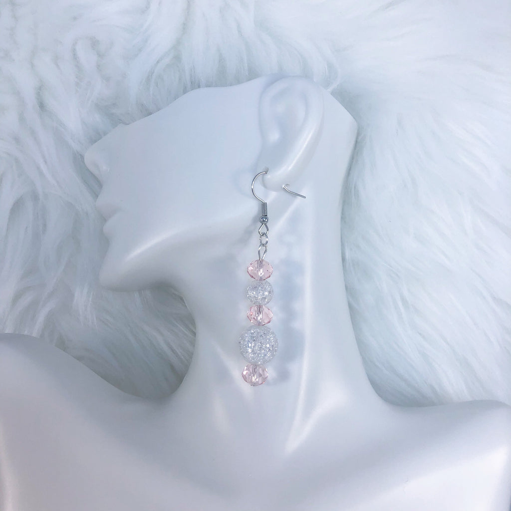 Sparkly Pink and White Earrings