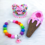 Sweet Stonie Set (PM Paci, 7.25in Teether Bracelet, and Ice Cream Novelty Pipe)