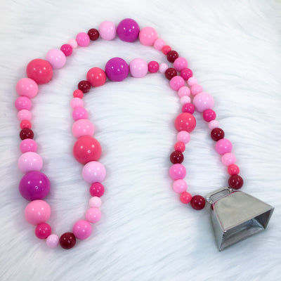 Strawberry Moo Cow Bell Collar/Play Necklace