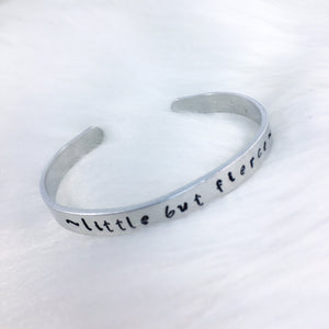 Little But Fierce Script Cuff Bracelet