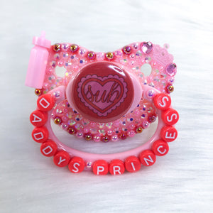 Strawberry Sub Ruffle Heart PM Paci (Custom Options Blank to Full Deco)