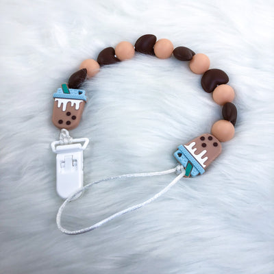 Chocolate Boba Tea 15 Inch Teether Clip/Paci Clip